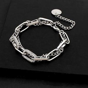 Platinum Plated Rhinestone Chunky Thick Bracelet